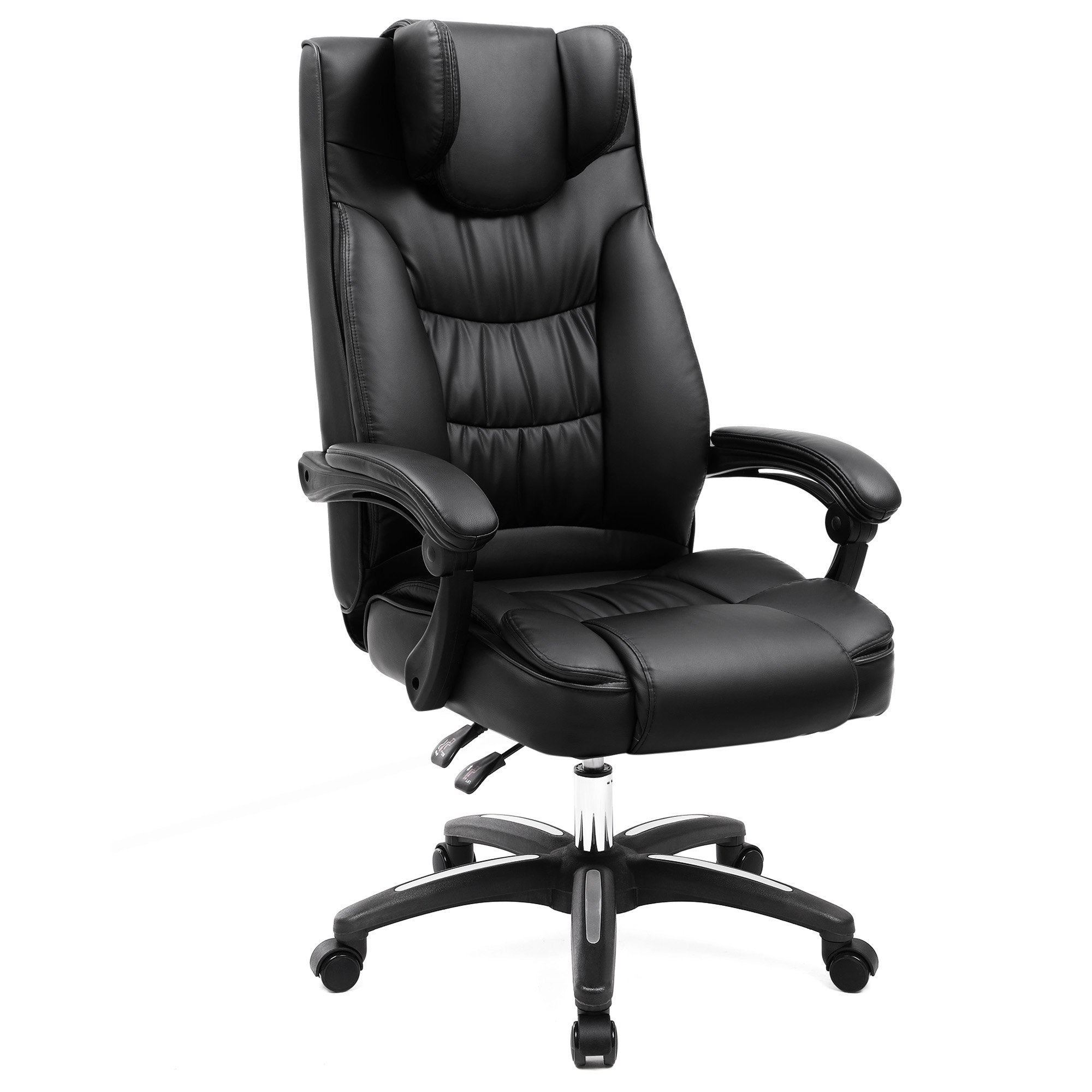 SONGMICS Office Chair, Original Design Executive Swivel Chair with Foldable Headrest, Adjustable Pillow, Black UOBG76B
