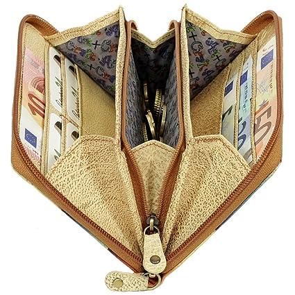 Craft 20-05 Damen Leder Portemonnaie Geldbörse mit Münzfach GreenLand Art