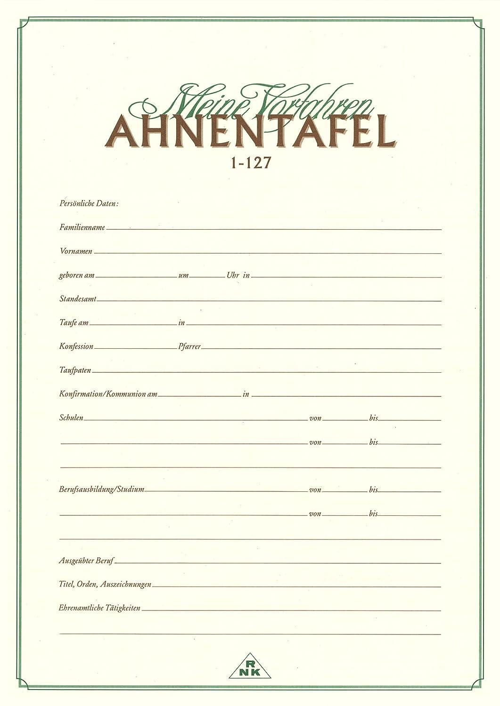 RNK Verlag 2801 Ahnentafel Meine Vorfahren, DIN A2: Amazon.de: Küche ...