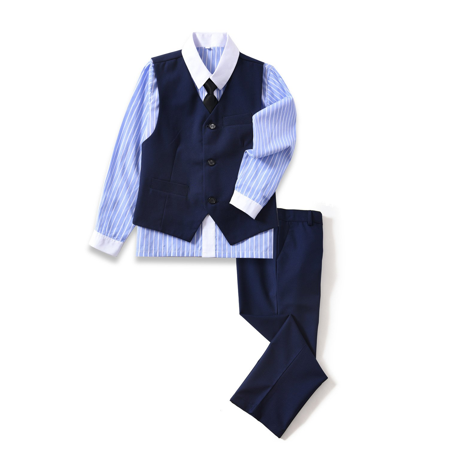 Yuanlu 4 Piece Boys Formal Dresswear Vest Set Suits Outfits Blue Size 5