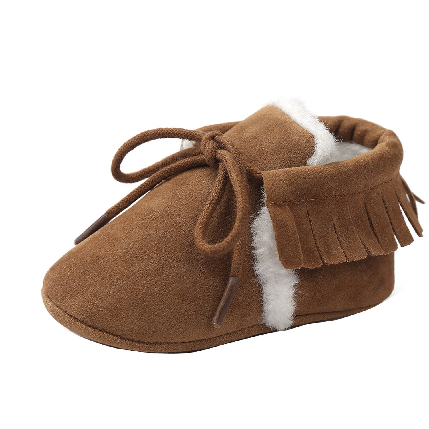 NOT100 Baby Infant Lace-up Sneakers Fur Lined Rubber Sole Faux Leather Child Snow Boots