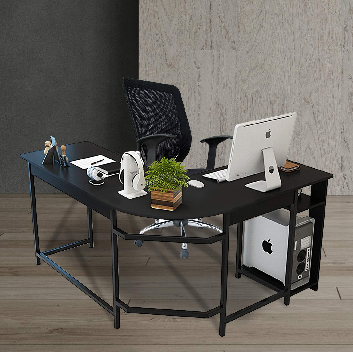 TY ARTS & CULTURE - L-Shaped Corner Desk Gaming Desk PC Table Office Computer Desk with Wood Laptop Black Frame Work Station Study Home Office Furniture | Black