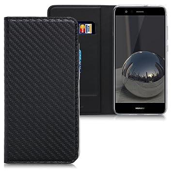 kwmobile Funda para Huawei P10 Lite - Carcasa de móvil de Cuero sintético - Case Plegable con diseño de Carbono