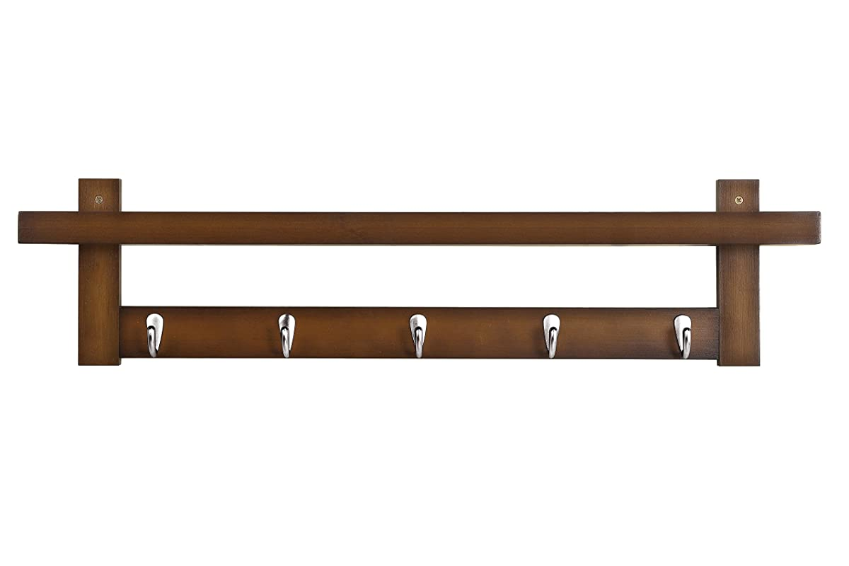 WILSHINE Wall Mounted Shelf with Hooks, Bamboo Coat Hooks Rack with Shelf for Entryway Kitchen Bathroom, Brown
