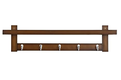 Amazon.com: WILSHINE - Perchero de bambú con ganchos para ...