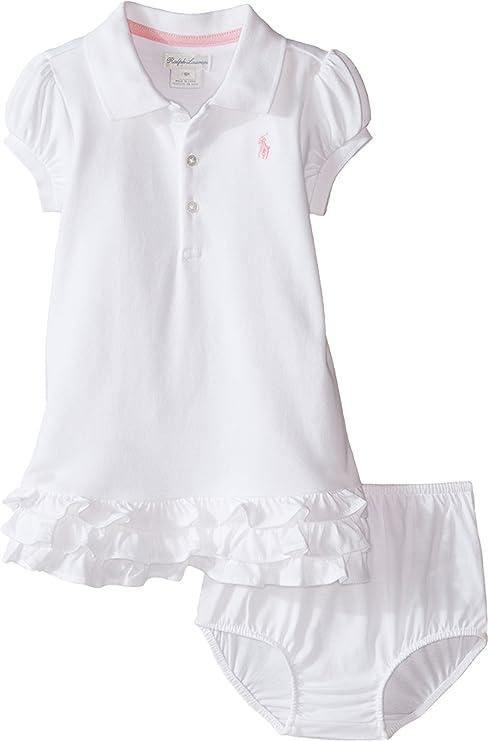 Ralph Lauren Vestido de Verano Polo Jinete bebé niña Blanco Blanco ...