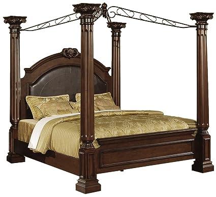 Amazon Com Myco Furniture Poster Bed In Warm Cherry Ash Burl Finish