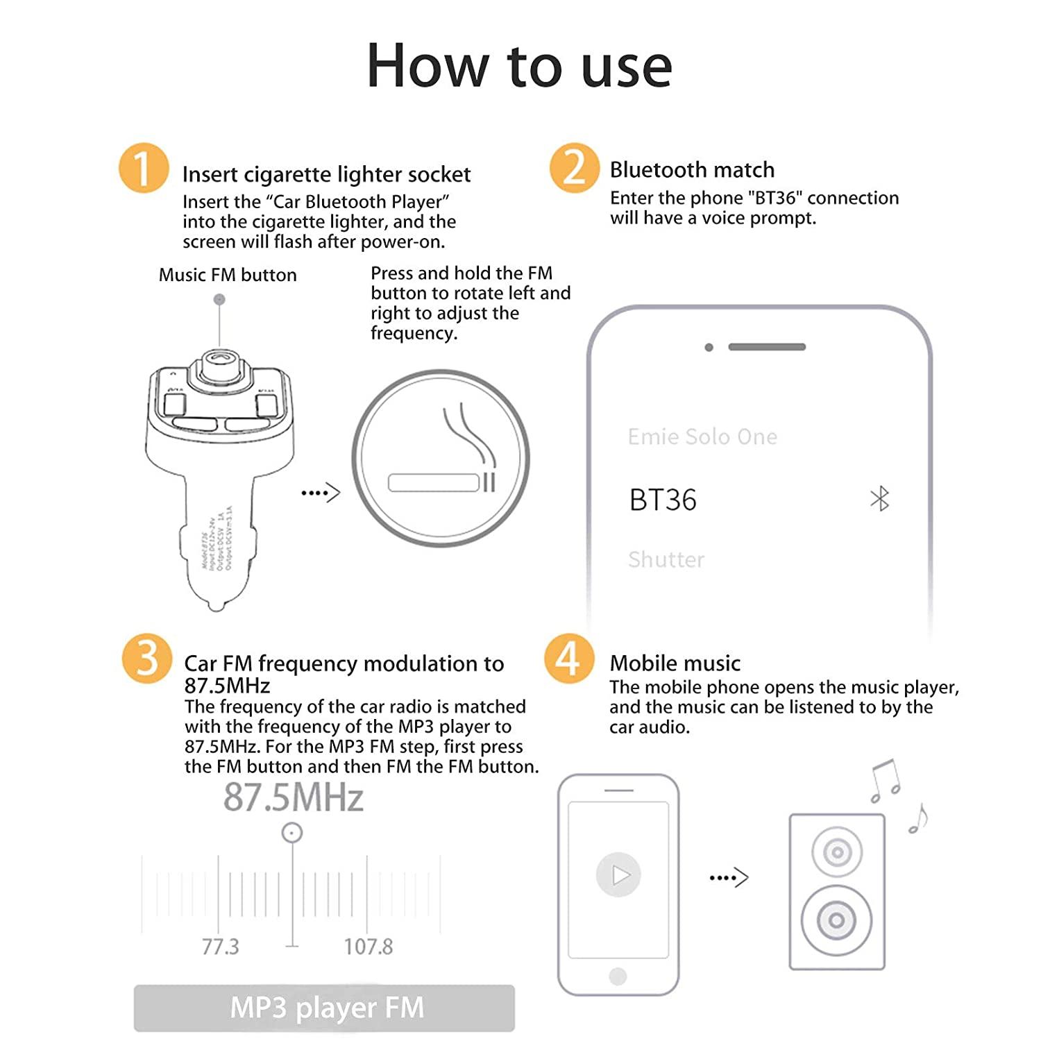 Eeekit Car Mp3 Player Bluetooth Fm Transmitter Circuit Diagram Simple Wireless In Radio Adapter Kit Universal Charger With Dual Usb
