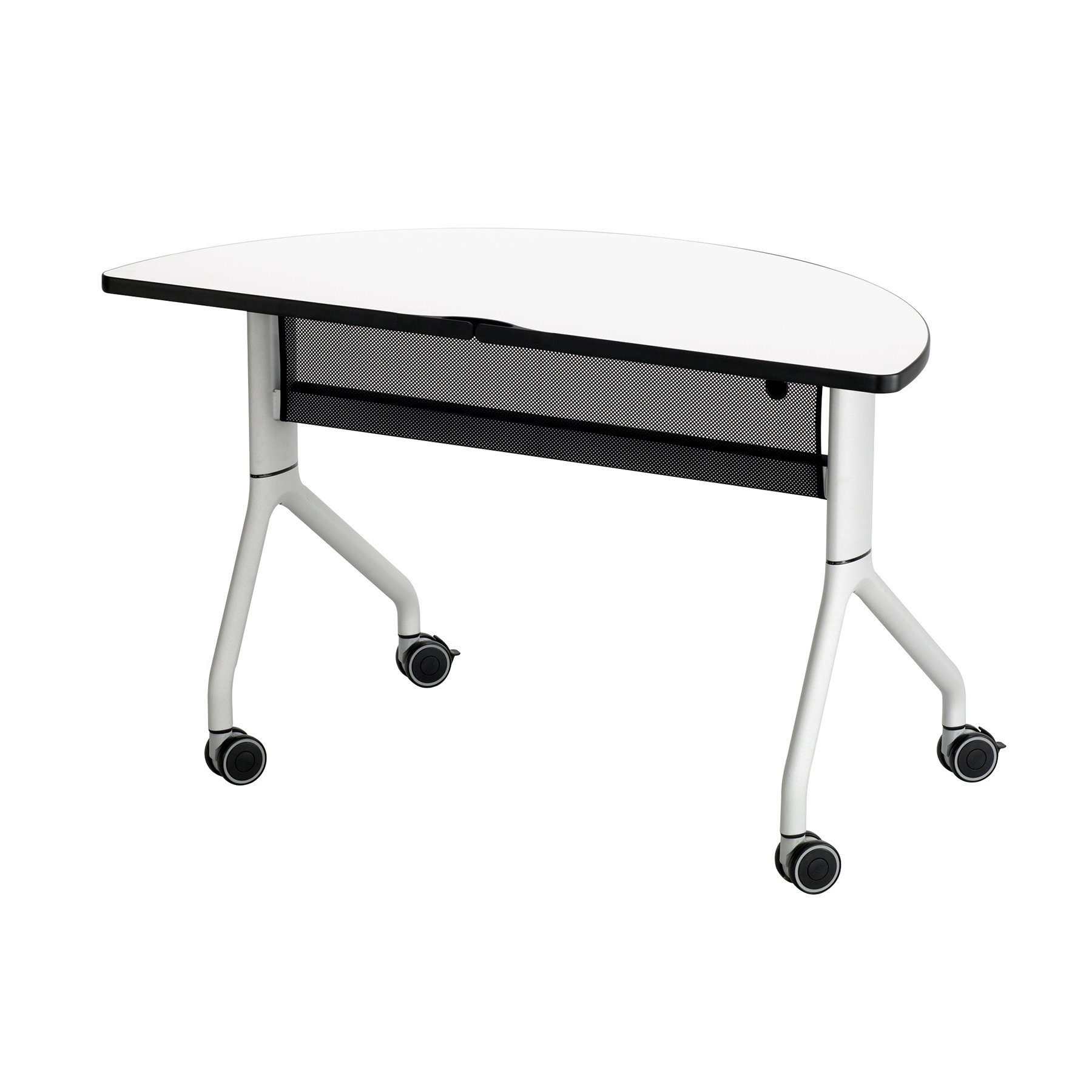Safco Rumba Half-Round Nesting Table - 48in. x 24in. White/Silver, Model Number 2041DWSL