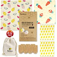 Reusable Beeswax Wrap by Beetomee, Breathable Veggie Sandwich Snack Storage, Sustainable Plastic-free Food Storage, Alternative to plastic - Set of 4 (Pineapple Carrot Lemon)