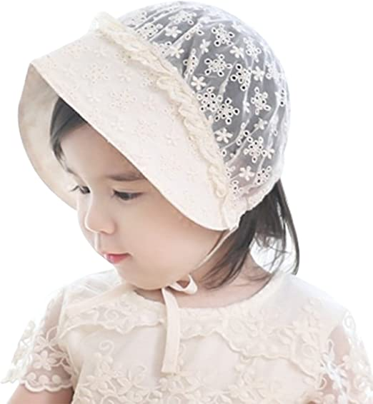 BBPIG Royal Lace Flower Baby Girls Toddlers Eyelet Lace Breathable Cotton Bonnet Sun Hat