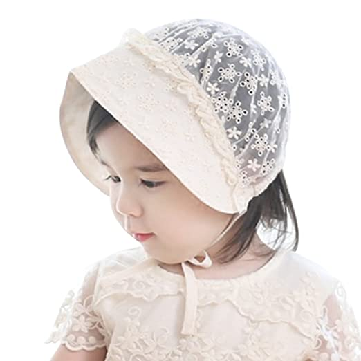 52aa9b8415a Baby Girls Lacy Bonnet Eyelet Lace Breathable Cotton Adjustable Sun Hat