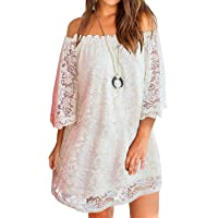 MIHOLL Women's Off Shoulder Lace Shift Loose Mini Dress