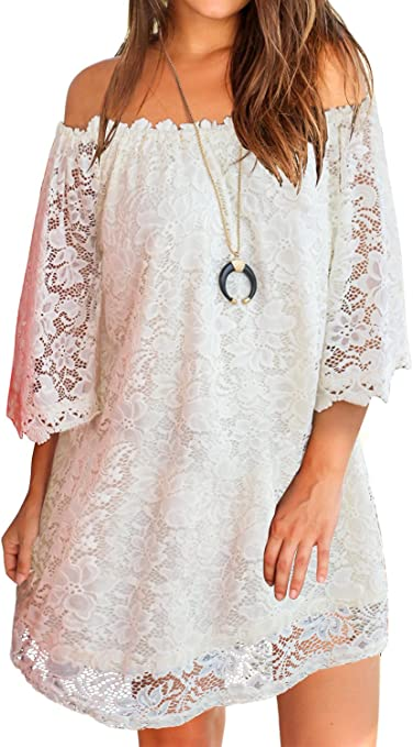 Women's Off Shoulder Lace Shift Loose Mini Dress