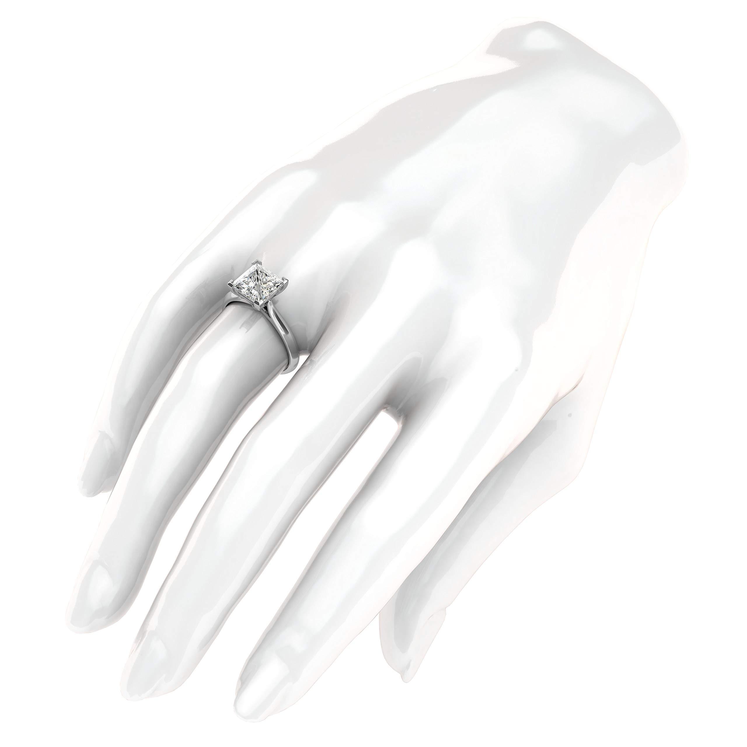14k White Gold Square 8mm Simulated Princess Cut Diamond Engagement Ring Knife Edge Promise Bridal Ring (8.5) by THELANDA (Image #4)
