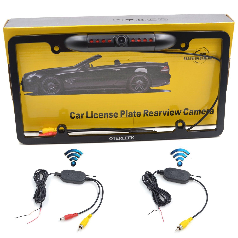 ワイヤレス車ライセンスプレートバックアップカメラUSAメタルカメラ車用ワイド角度8赤外線ライトナイトビジョンOterleek B078JQSXT5 Wireless Rear View Camera Wireless Rear View Camera