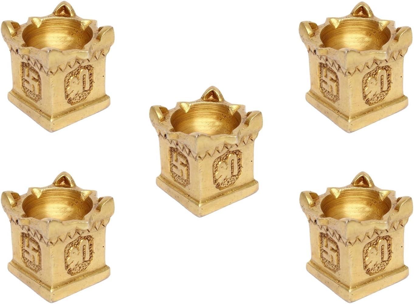 GoldGiftIdeas Brass Tulsi Plant Diya, Diya for Pooja Room, Decorative Diya for Home, Return Gift for Housewarming Pack of 5