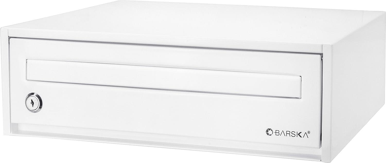 "BARSKA CB13118 Key Lock Desktop Envelopes Cash Documents Suggestions Drop Box, White, 15.75"" x 11"" x 4.87"""