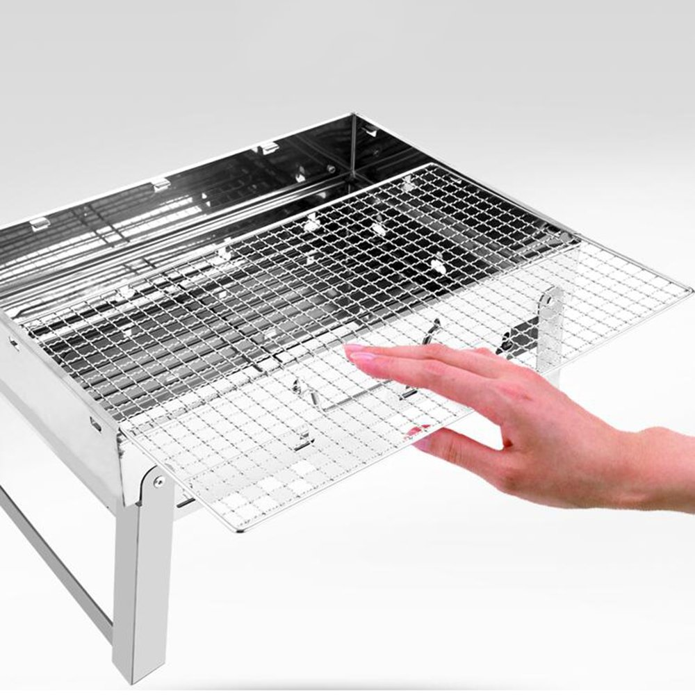 ZZ-aini Stainless steel Charcoal grills Portable, Grill Folding Camping Garden Picnicking Outdoor Barbecue-A 44x29x24cm
