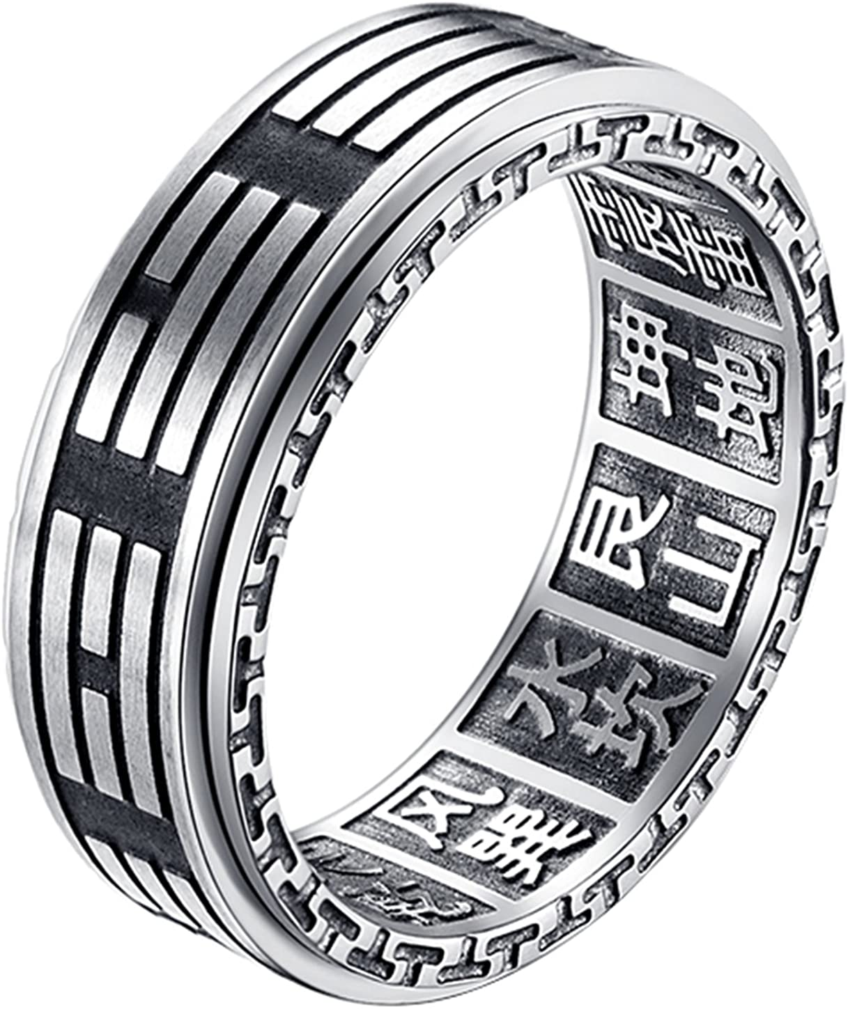 ALEXTINA Men's 8MM Stainless Steel Yin Yang Spinner Ring Ba Gua Feng Shui Eight Trigrams Signet Band