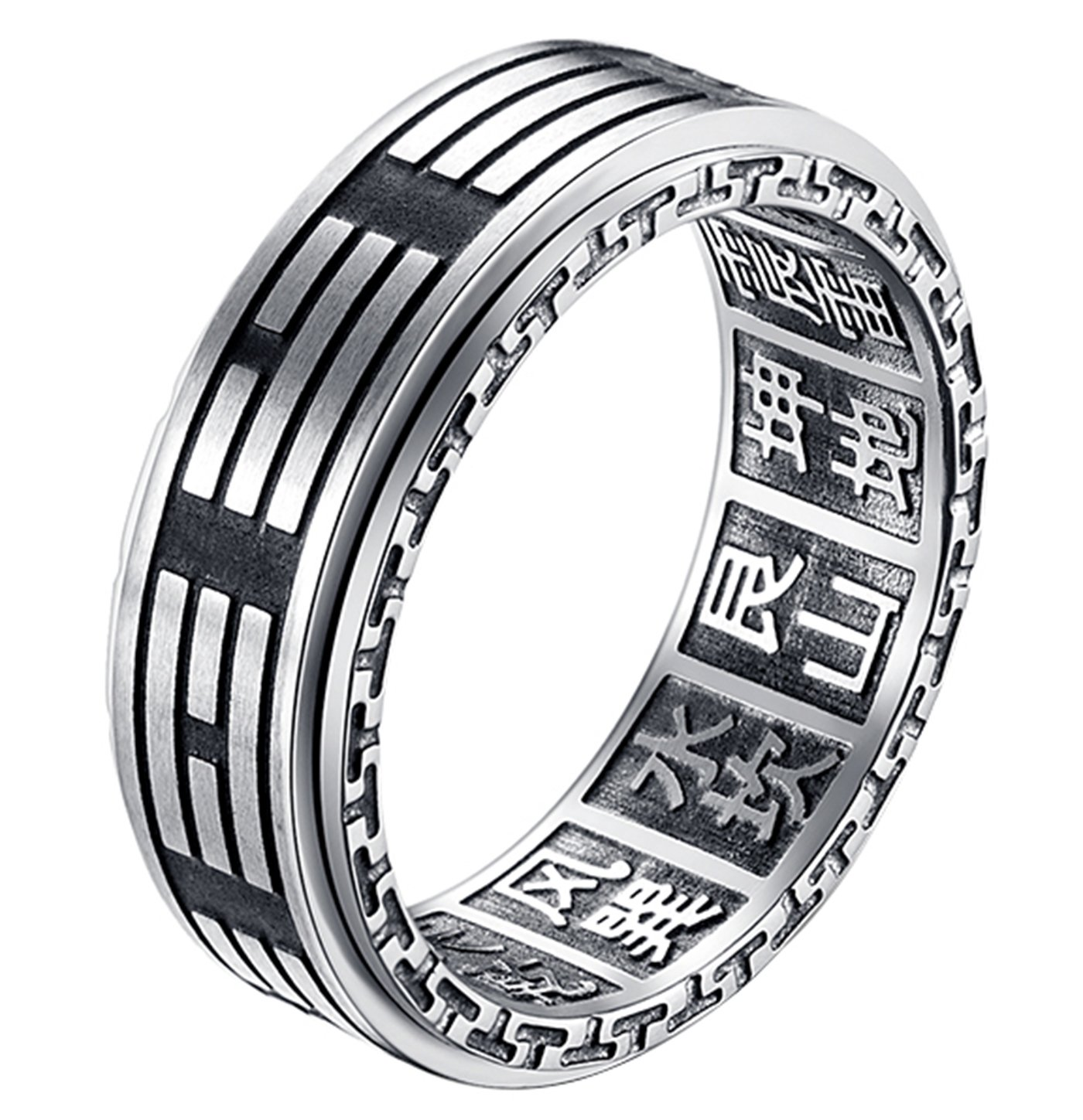 ALEXTINA Men's 8MM Stainless Steel Yin Yang Spinner Ring Ba Gua Feng Shui Eight Trigrams Signet Band Size 6