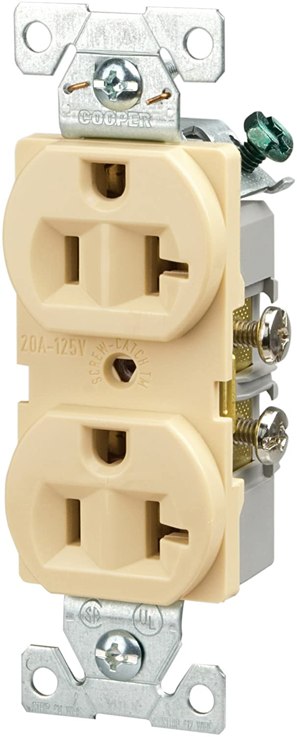 Eaton BR20V 20-Amp 125-volt Commercial Grade Straight Blade 3-Wire Duplex Receptacle Ivory