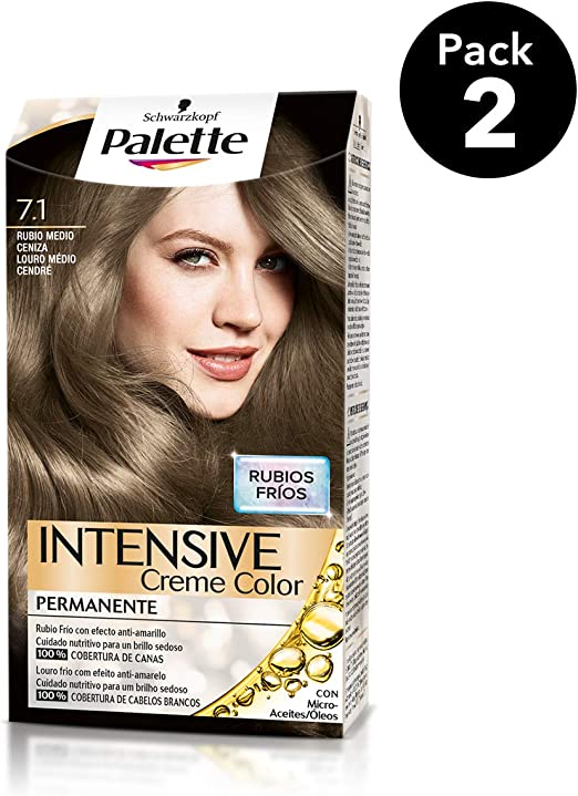 Palette Intense - Tono 7.1 Rubio Medio Ceniza - 2 uds - Coloración Permanente - Schwarzkopf