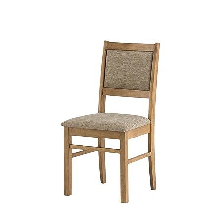 Mood Furniture U2013 Kitchen Dining Chair U2013 Warm Oak Finish   Solid Wood Frame  U2013 Oatmeal