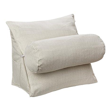 HALOViE Almohada ajustable de cuña y triángulo con soporte para la espalda, ángulo y cuello para lectura, sofá, cama, oficina y silla 47 * 45 * 23cm ...