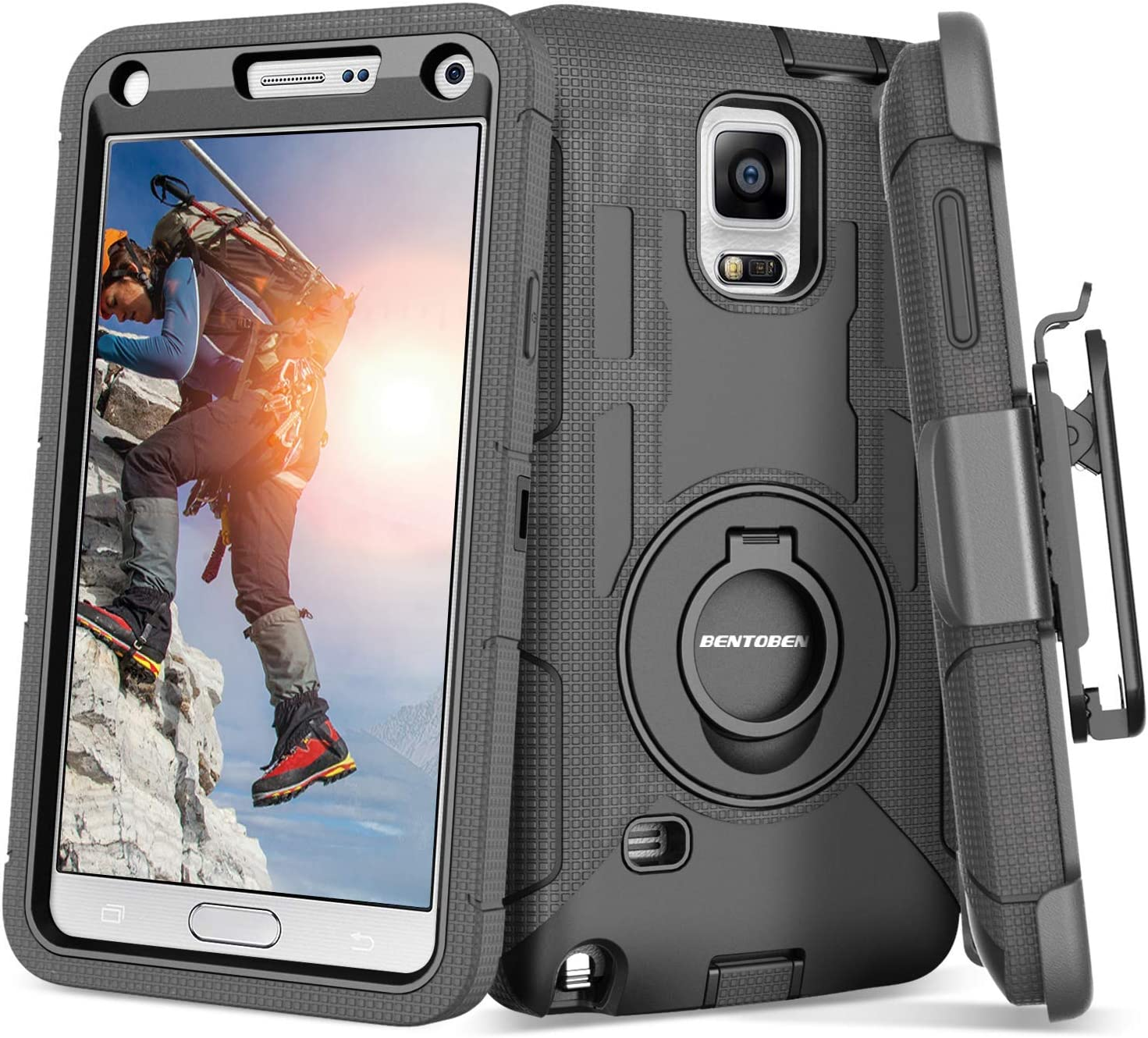 Note 4 Case, Galaxy Note 4 Case, BENTOBEN Shockproof Heavy Duty Protection Hybrid Rugged Samsung Galaxy Note 4 Case Rubber Built-in Rotating Kickstand ...