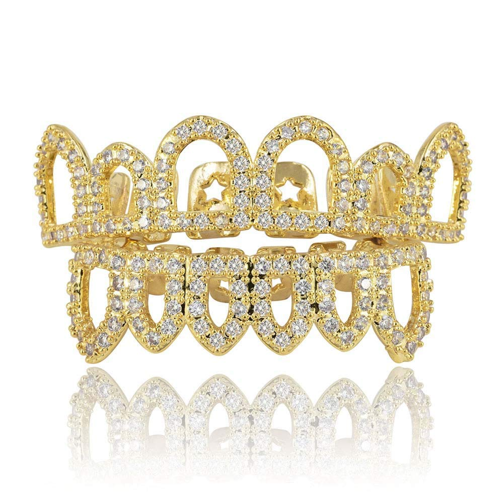 Moca Jewelry Halloween Prank Hollow Unisex 18K Gold Plated Iced Out CZ Simulated Diamond Single Row Bottom Teeth Grillz Set for Men Women (Gold) by Moca Jewelry