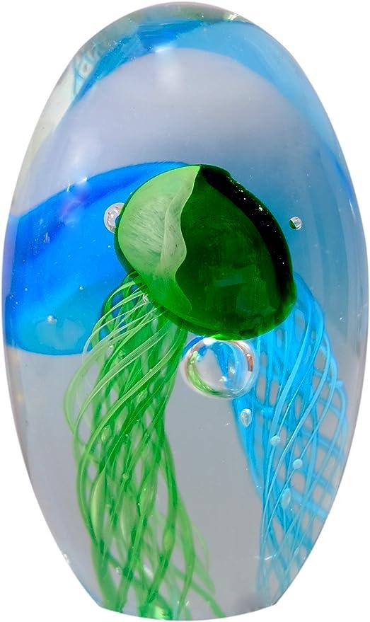 Dekorative Kugel Briefbeschwerer Glaskugel Qualle aus Glas
