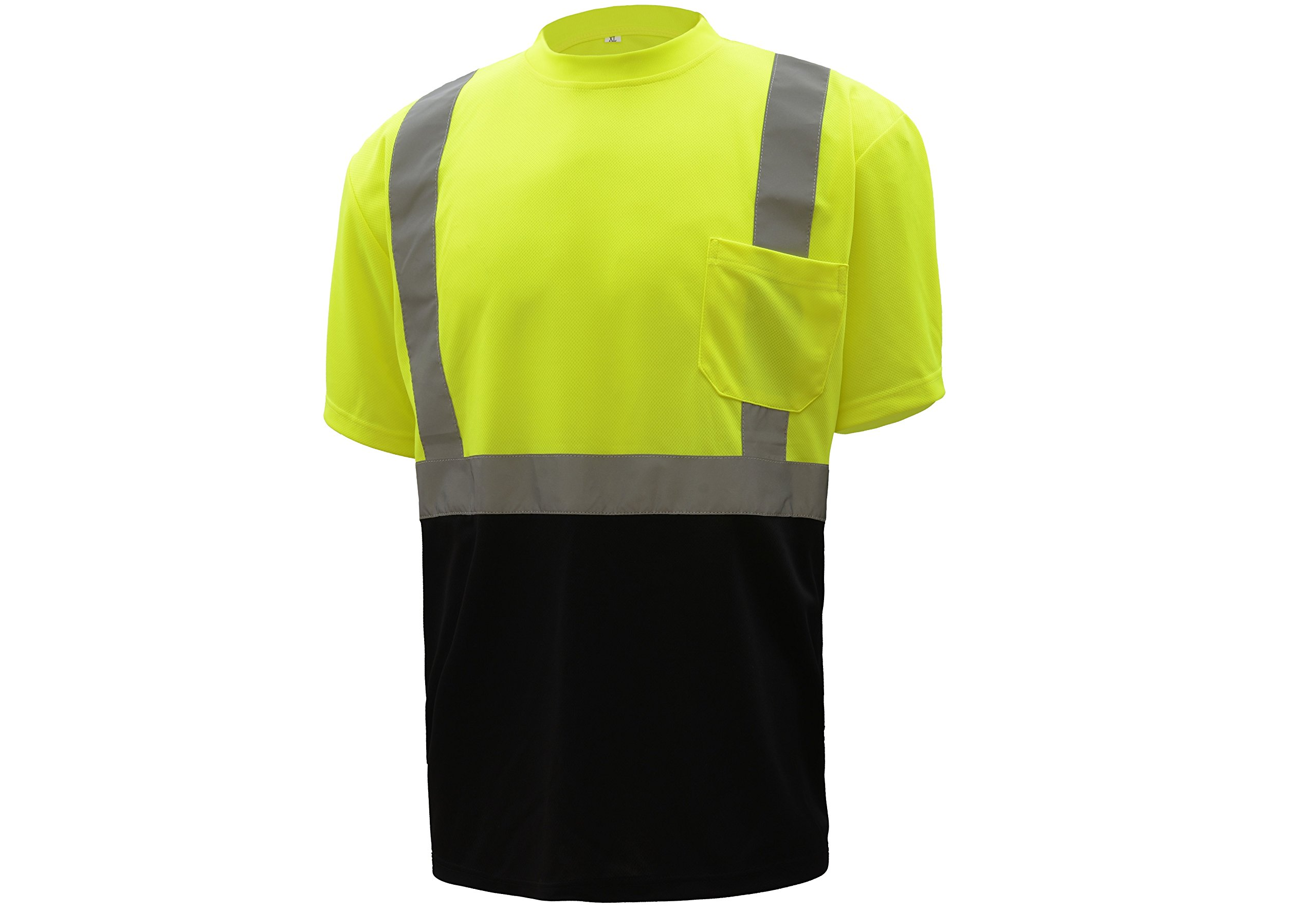 CJ Safety CJHVTS2003 ANSI Class 2 High Vis Short Sleeve Black Bottom Safety Shirt Moisture Wicking Mesh (Large, Green)