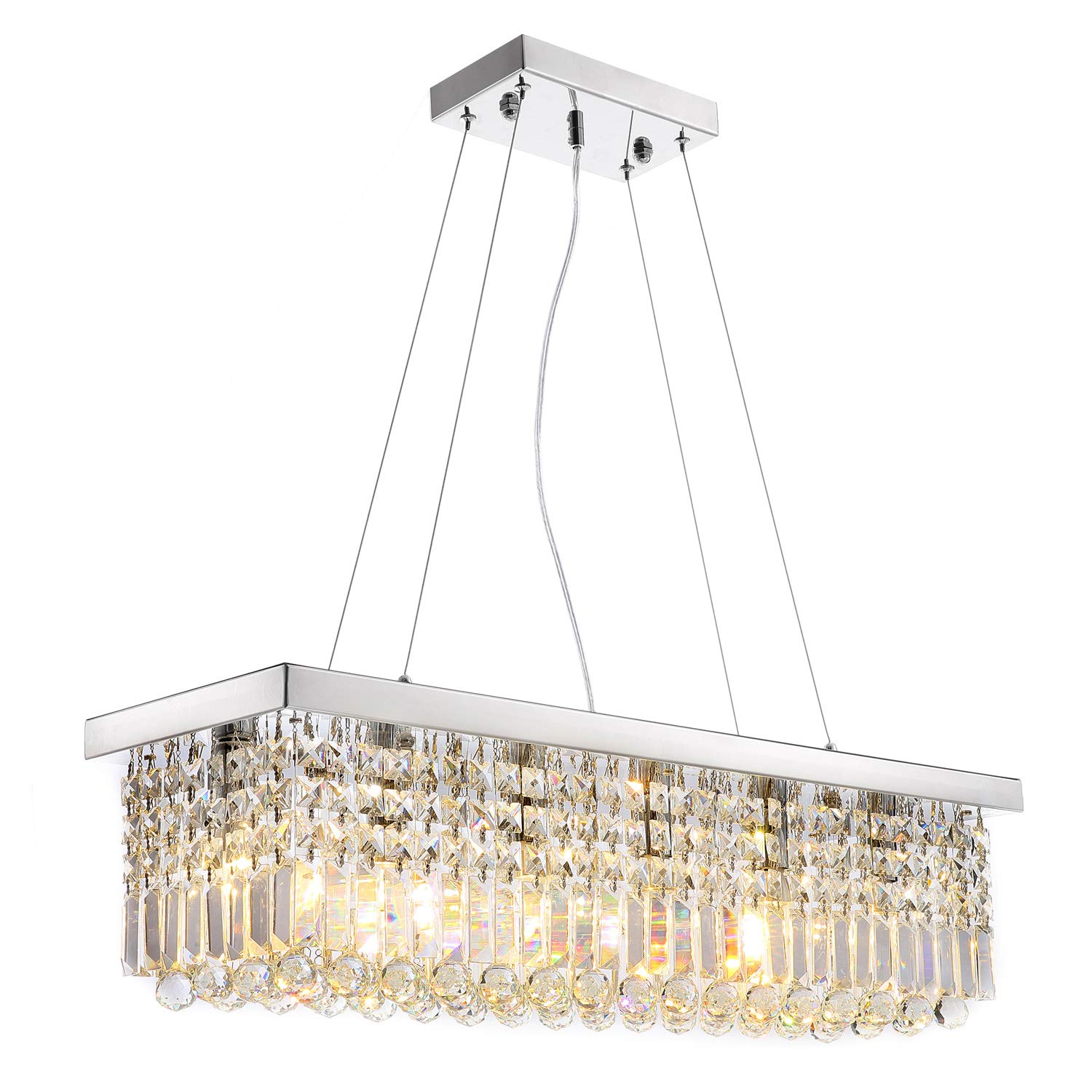 Siljoy L40'' x W10'' Rectangle Modern Crystal Chandelier Lighting Raindrop Pendant Light Dining Room Kitchen Island Hanging Lamp