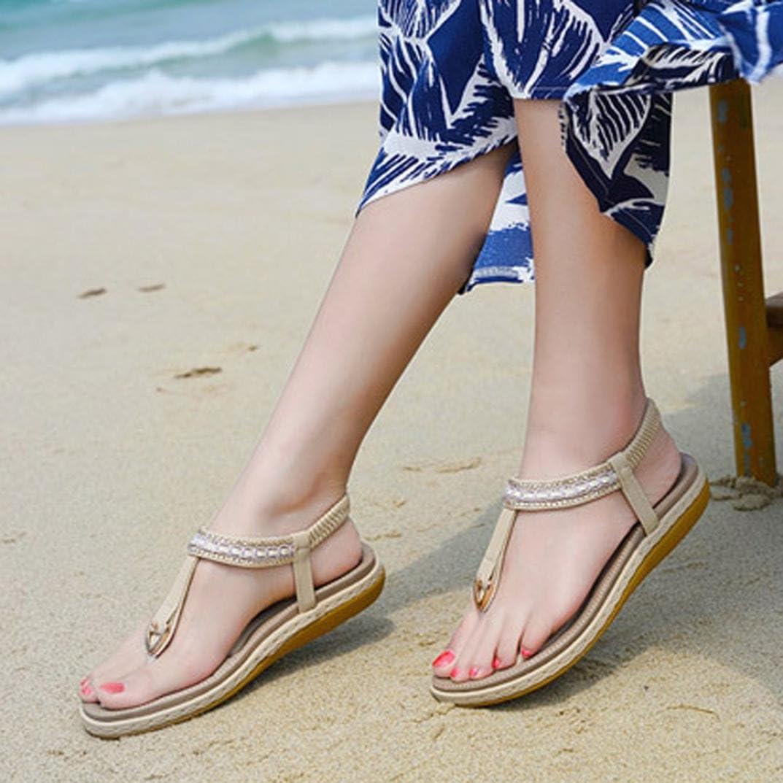 Amiley Women Sandals,Summer Women Sandals Flat Casual Single Shoes Soft Rhinestone Office Sandals