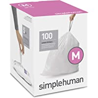 simplehuman Code M Custom Fit Liners, Tall Kitchen Drawstring Trash Bags, 45 Liter / 12 Gallon, 100-Count Box