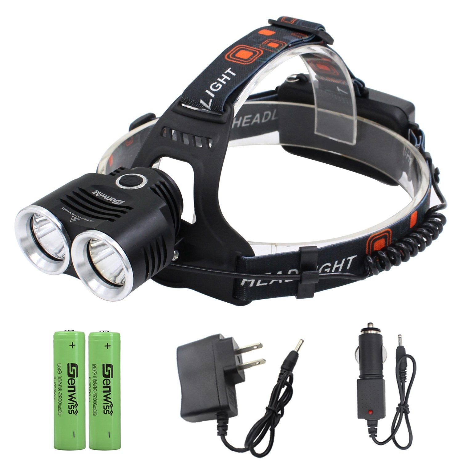 LED Headlamp Flashlight Super Bright Headlight - Genwiss 2 XML T6 6000 Lumens Waterproof Aluminum Head Lamp 3 Modes with Rechargeable Batteries, USB Cable, Car Charger, Wall Charger for Camping
