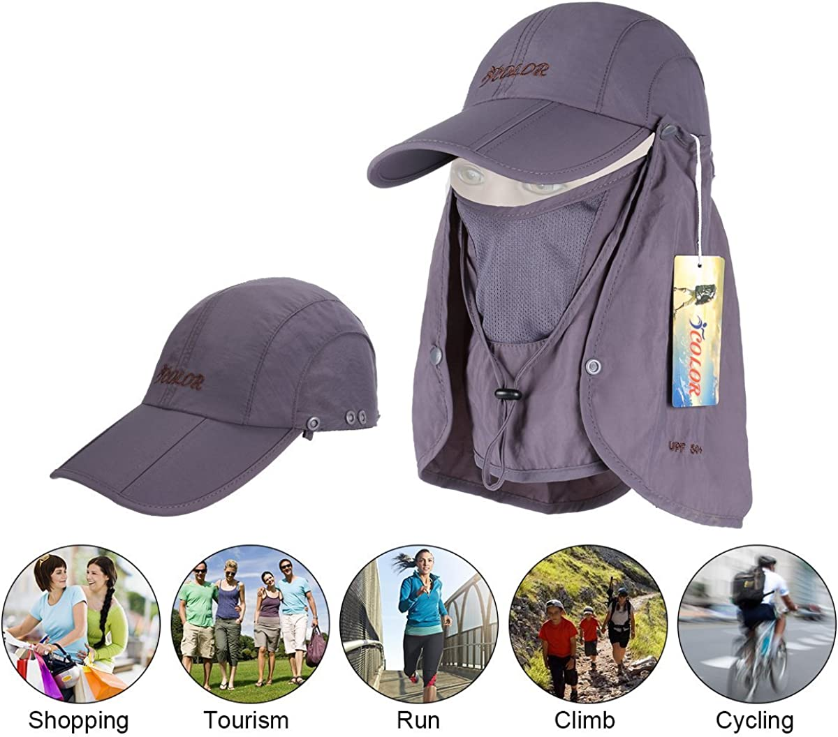 Quick Drying Sun Protection Hat Travel Camping Hiking Fishing Hat ICOLOR UPF 50
