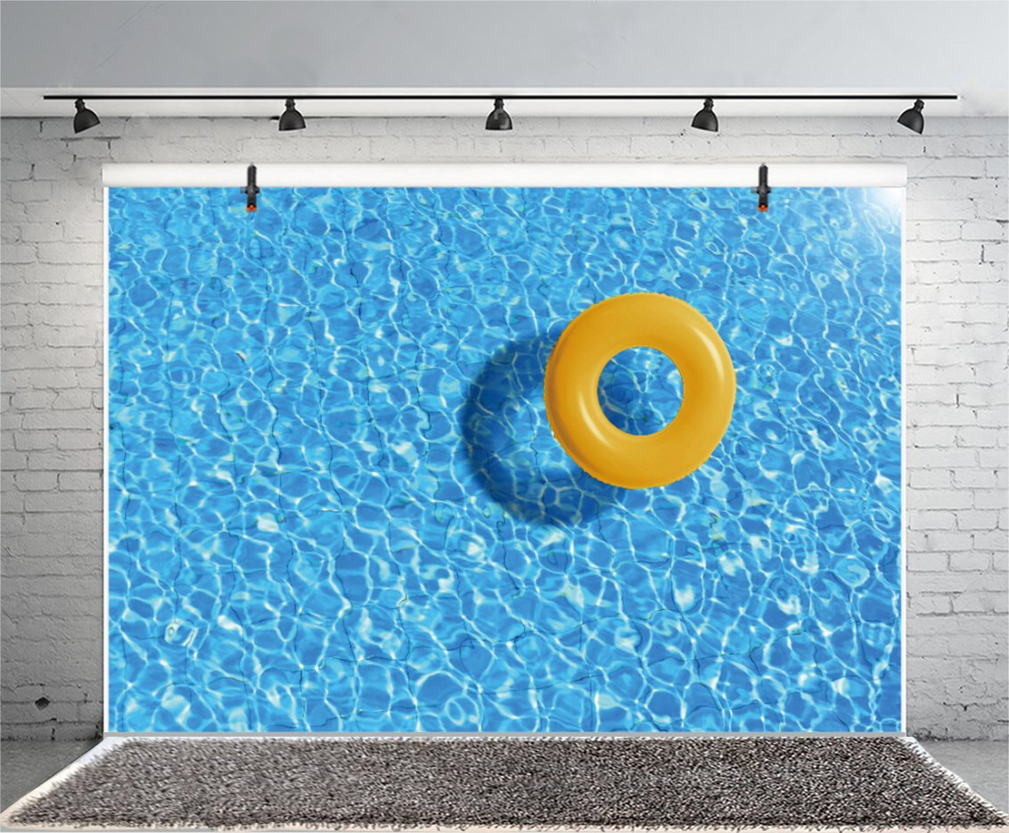 Laeacco Swimming Pool Backgroud 7x5ft Blue Water Surface With Yellow Swimming Ring Backdrops Summer Holiday Homely Hotel Interior Happiness Relaxing Vacation Artistic Studio Props