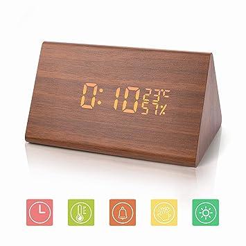 JoyShop Reloj Despertador Reloj Digital de Madera Triángulo LED Reloj de Escritorio de Alarma de Madera con Fecha y Temperatura Control táctil por Voz para ...