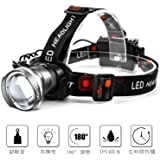Lightess led ヘッドライト LED ヘッドランプ 超軽量 3点灯モード防水 角度調整 ズーム機能 単3電池式 キャンプ 登山 夜釣り 防災 停電時用