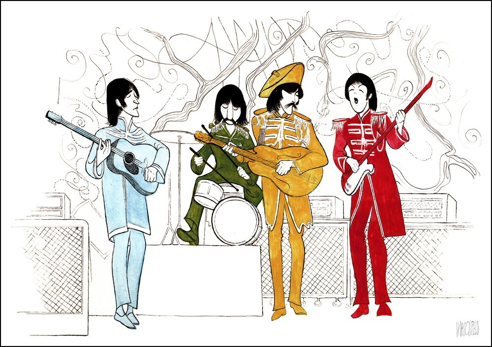 Hand Signed AL HIRSCHFELD, THE BEATLES, SGT. PEPPER'S LONELY HEARTS CLUB BAND, Limited-Edition Lithograph SGT. PEPPER' S LONELY HEARTS CLUB BAND THE MARGO FEIDEN GALLERIES LTD. New York