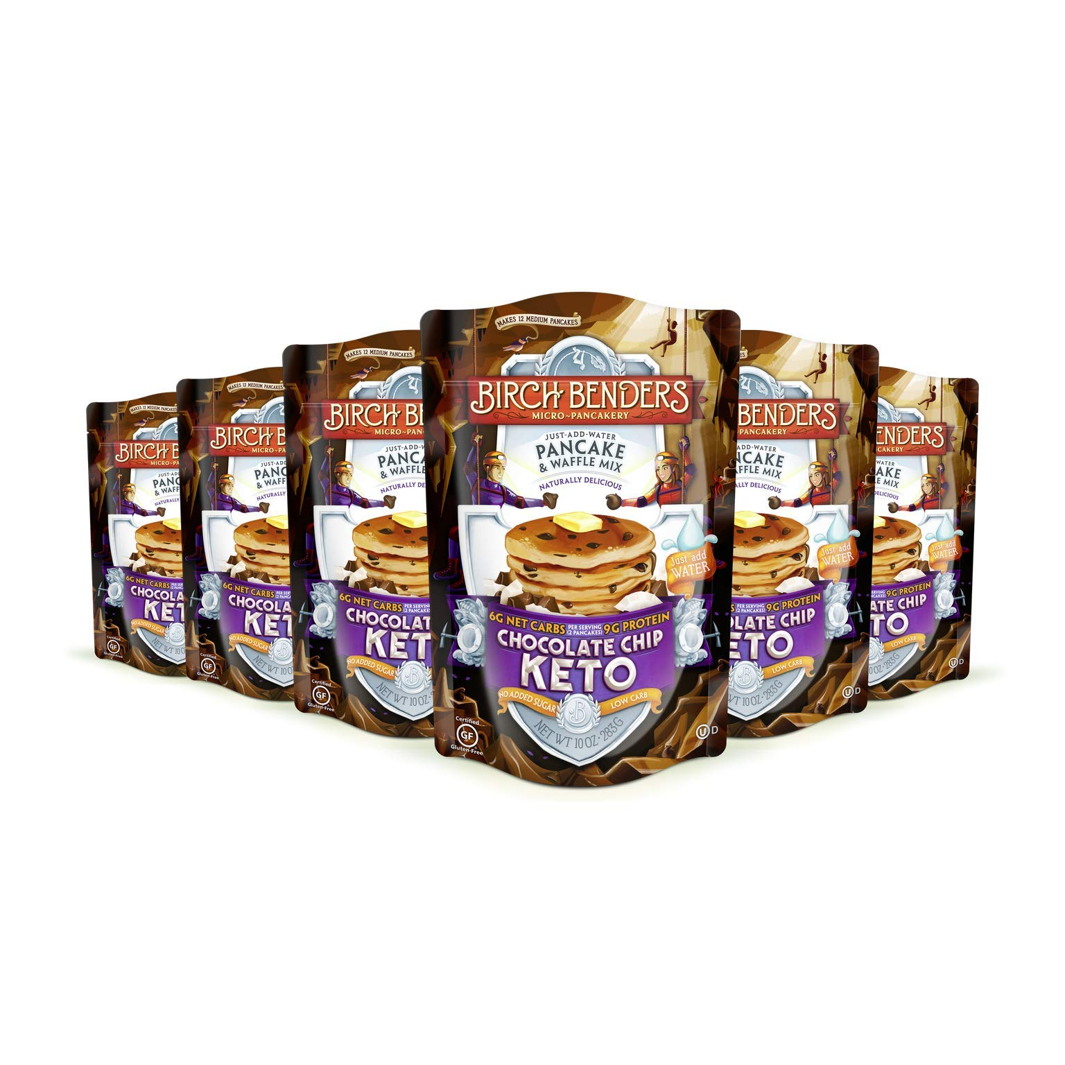 Birch Benders Keto Chocolate Chip Pancake & Waffle Mix with Almond/Coconut & Cassava Flour, 6 Count by Birch Benders (Image #1)