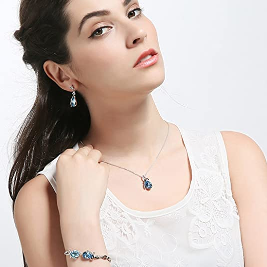 NEOGLORY Conjunto Collar Pulsera Pendientes con Cristales ...