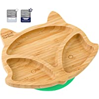 Baby Toddler Fox Cub Suction Plate, Stay Put Feeding Plate, Natural Bamboo (Green)