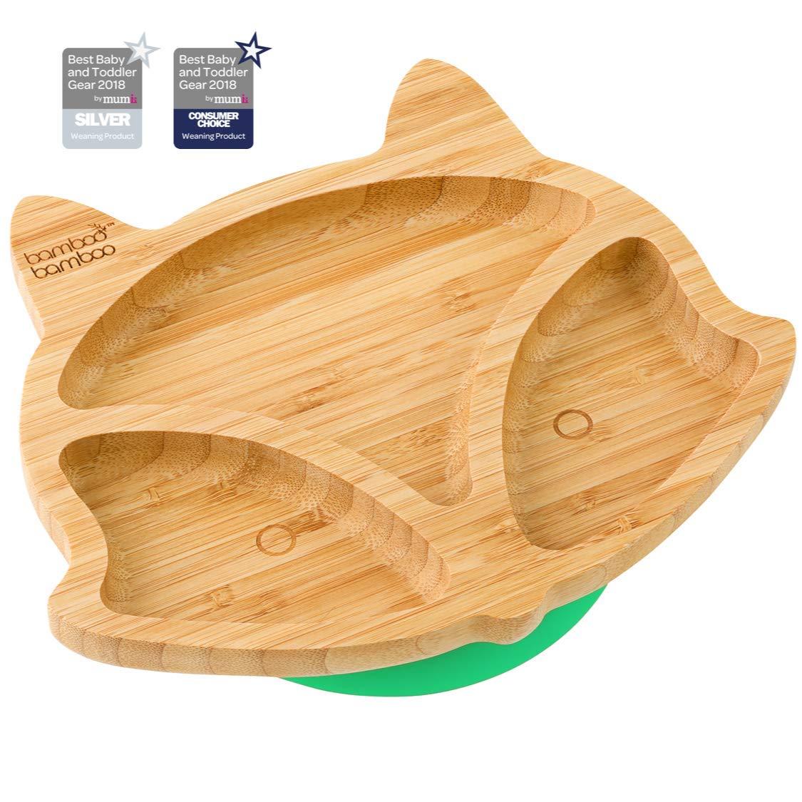 aus naturbelassenem Bambus Fuchs Baby Saugnapf-Teller Standfeste Saug-F/ütter-Teller