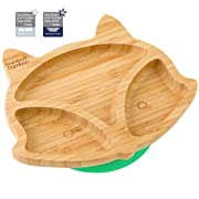 Baby Plates with Suction - Toddler Fox Cub Suction Plate, Stay Put Feeding Plate, Natural Bamboo (Green)