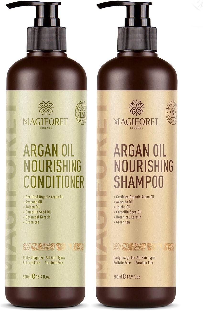 Juego de champú y acondicionador de aceite de argán (2 x 16,9 oz) - MagiForet champú orgánico y acondicionador sin sulfato