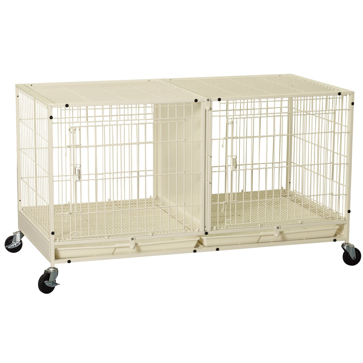 ProSelect Steel Modular Pet Cage with Plastic Tray, Ivory