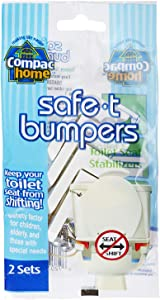 COMPAC HOME 11220 Compac's Stabilizers T Bumpers, Lock Place, Keeps Children, Elderly, Disabled Safe from Slipping Off Shaking, Moving or Wobbly Toilet Seat (2 Sets), White